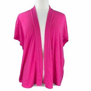 Lane Bryant Pink Open Front Short Sleeve Cardigan